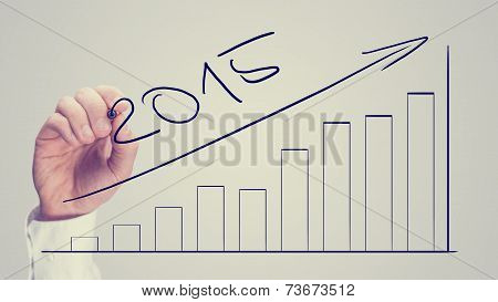 Man Drawing An Increasing Bar Graph Dated For 2015