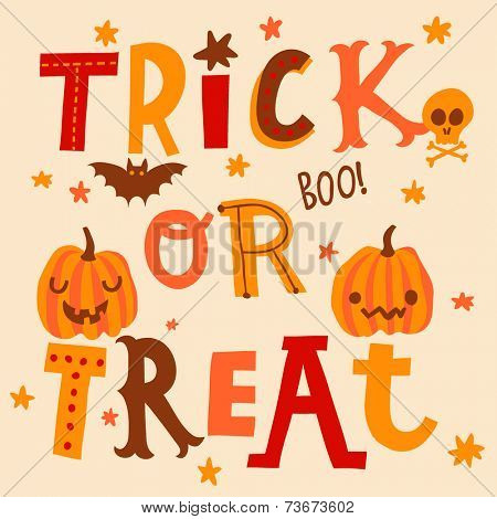 Bright Halloween card in vector. Cute trick or treat background in cartoon style