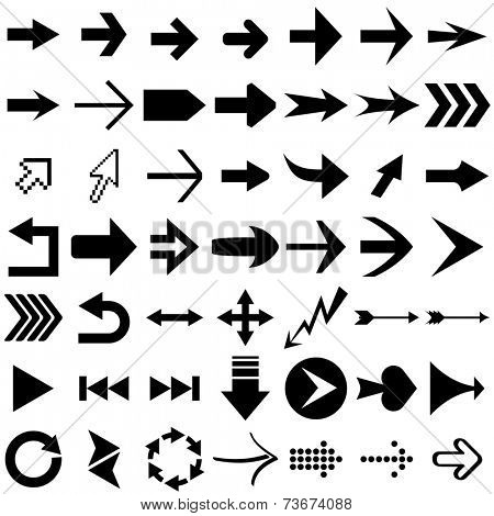 Set of arrow shapes  isolated on white.