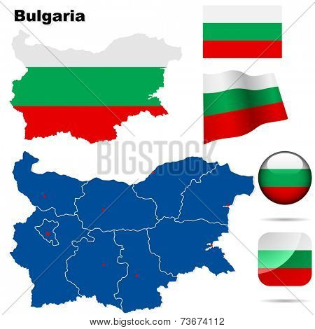 Bulgaria  set. Detailed country shape with region borders, flags and icons isolated on white background.