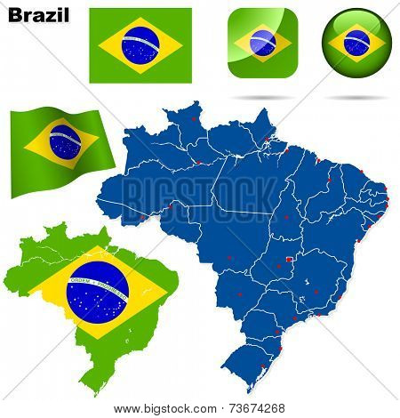 Brazil set. Detailed country shape with region borders, flags and icons isolated on white background.