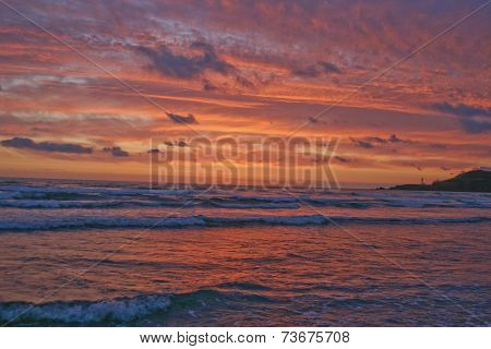 Brilliant Pacific Sunset And Lighthouse