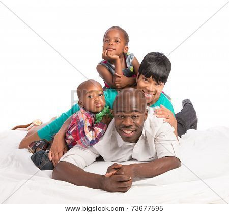 Casual Portrait of Happy Smiling African American Family Isolated on White Background