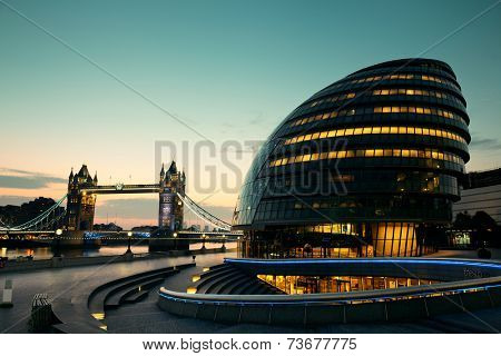 LONDON, UK - SEP 27: City Hall in business district on September 27, 2013 in London, UK. London is the world's most visited city and the capital of UK.