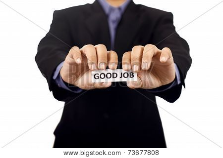 Man Holding Paper With Good Job Text