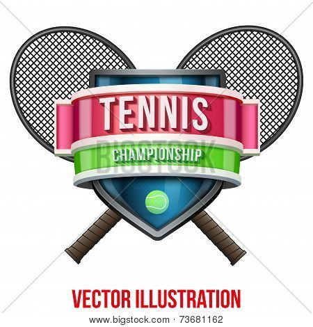 Label for tennis sport competition. Bright premium design. Vector Illustration.