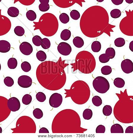 Seamless Pattern With Pomegranate And Plum On The White Background