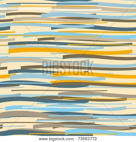 Seamless Pattern. Repeating Vector Texture In Nuance Colors. Blue, Orange, Brown Background.