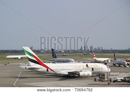 Emirates Airline Airbus A380 at JFK Airport in New York