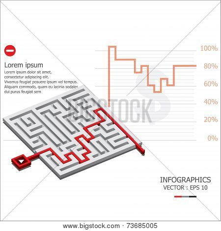 Maze Graph Down Business Infographic