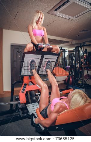 attractive women in gym on workout machine