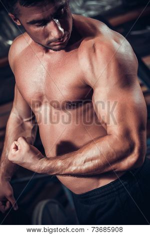 Male bodybuilder flexing his muscles