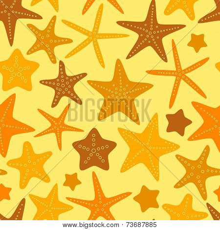 Colorful yellow and orange starfishes summer seamless background, vector