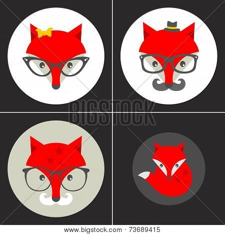 Set of cute seamless patterns with hipster fox.