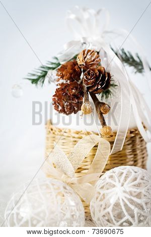 Decoration With Snowy Cones And White Baubles