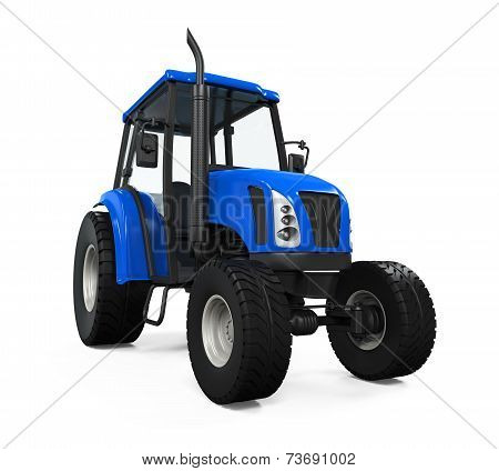 Blue Tractor Isolated