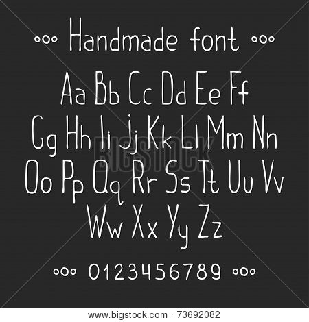 Simple monochrome hand drawn font. Complete abc alphabet set. Vector letters and numbers.