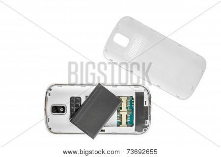 Disassembled Old Mobile Phone Isolated On White Background.