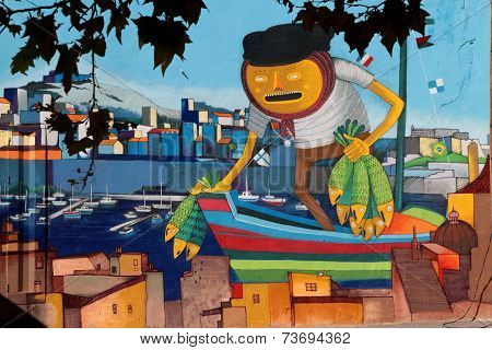 Marseille, France, October 2, 2014 : Fisherman Painted On A Wall In City Center. Marseilles Is The 3