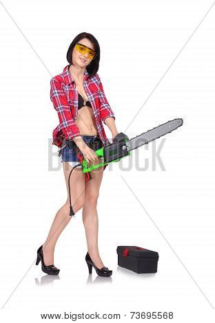Girl With Green Chainsaw