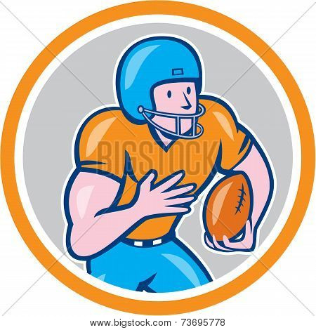 American Football Receiver Running Ball Circle Shield