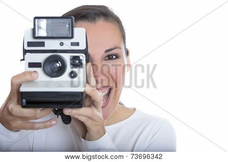 Woman And Instant Camera