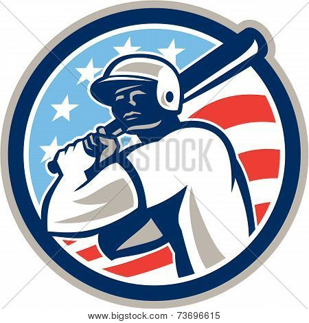American Baseball Batter Hitter Circle Retro