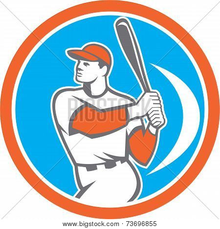 Baseball Batter Hitter Bat Circle Retro