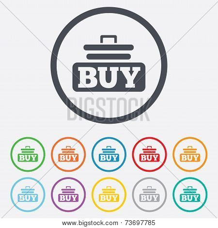 Buy sign icon. Online buying cart button.