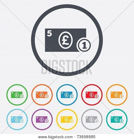 Cash sign icon. Pound Money symbol. Coin.