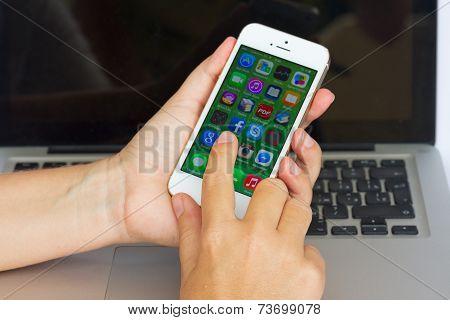 Hand Holding  Apple  Iphone 5S