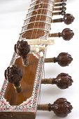 picture of string instrument  - Sitar a string Traditional Indian musical instrument close-up