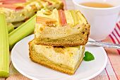 stock photo of curd  - Pie with curd and rhubarb - JPG