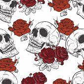 stock photo of skull  - vector seamless with roses and skulls skull - JPG