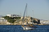stock photo of piraeus  - Traditional wooden cruise boat near coastline Piraeus - JPG