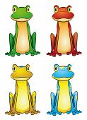 picture of orange frog  - vector illustration set of four cute frogs - JPG