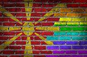 picture of macedonia  - Dark brick wall texture  - JPG