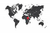 stock photo of sudan  - A Map of the world with a selected country of Sudan - JPG
