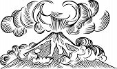 picture of magma  - Volcanic explosion white and black on white background - JPG