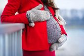 picture of  belly  - Detail of unrecognizable pregnant woman - JPG