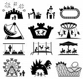 stock photo of funfair  - Amusement Park icons - JPG