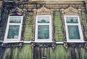 stock photo of siberia  - Detail of old wooden house in Tomsk - JPG