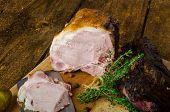 pic of smoked ham  - Slow smoked meat with thyme and pickles whole grain mustard and thyme bundle - JPG