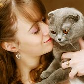 stock photo of scottish-fold  - Young woman with scottish - JPG