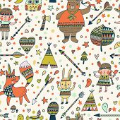 pic of wigwams  - Beautiful indian seamless pattern in vector - JPG