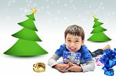 image of merry chrismas  - Little boy with gift for chrismas and new year - JPG