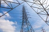stock photo of power transmission lines  - High voltage power pole and electricity line with blue sky background for power transmission - JPG