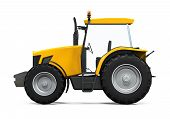 picture of tractor-trailer  - Yellow Tractor isolated on white background - JPG
