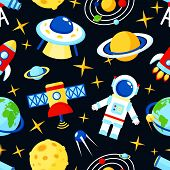 pic of saturn  - Space and astronomy seamless pattern with satellite astronaut saturn telescope vector illustration - JPG
