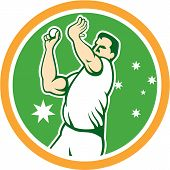 image of bowler  - Illustration of an Australian cricket player fast bowler bowling with cricket ball set inside circle with stars in the background done in cartoon style - JPG